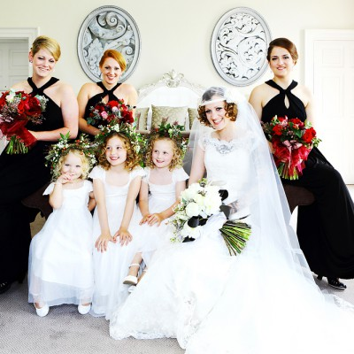 Bride sitting on a sofa with all her bridesmaids around her.