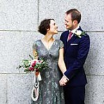 Newlyweds at Chelsea Town Hall.